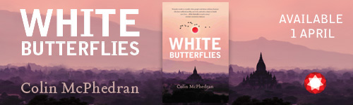 Image. Advertisement: White Butterflies by Collin McPhedran. Available 1 April.