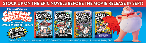 Image. Advertisement: Captain Underpants: Stock up on the epic novels before the movie release in Sept!