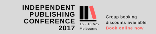 Image. Advertisement: Book now for Independent Publishing Conference 2017: Group booking discounts available