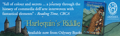 Image. Advertisement: Harlequin's Riddle