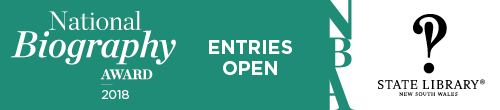 Image. Advertisement: National Biography Awards 2018. Entries open.